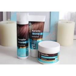 Zestaw do pielęgnacji włosów odbudowa struktury włosów szampon,maska,odżywka Dr Sante Keratin